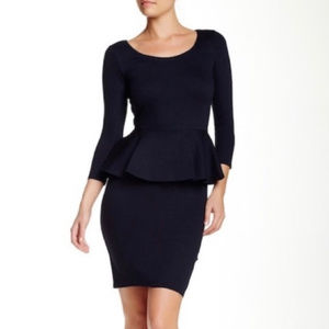alice + olivia EMPLOYED Navy Peplum Dress